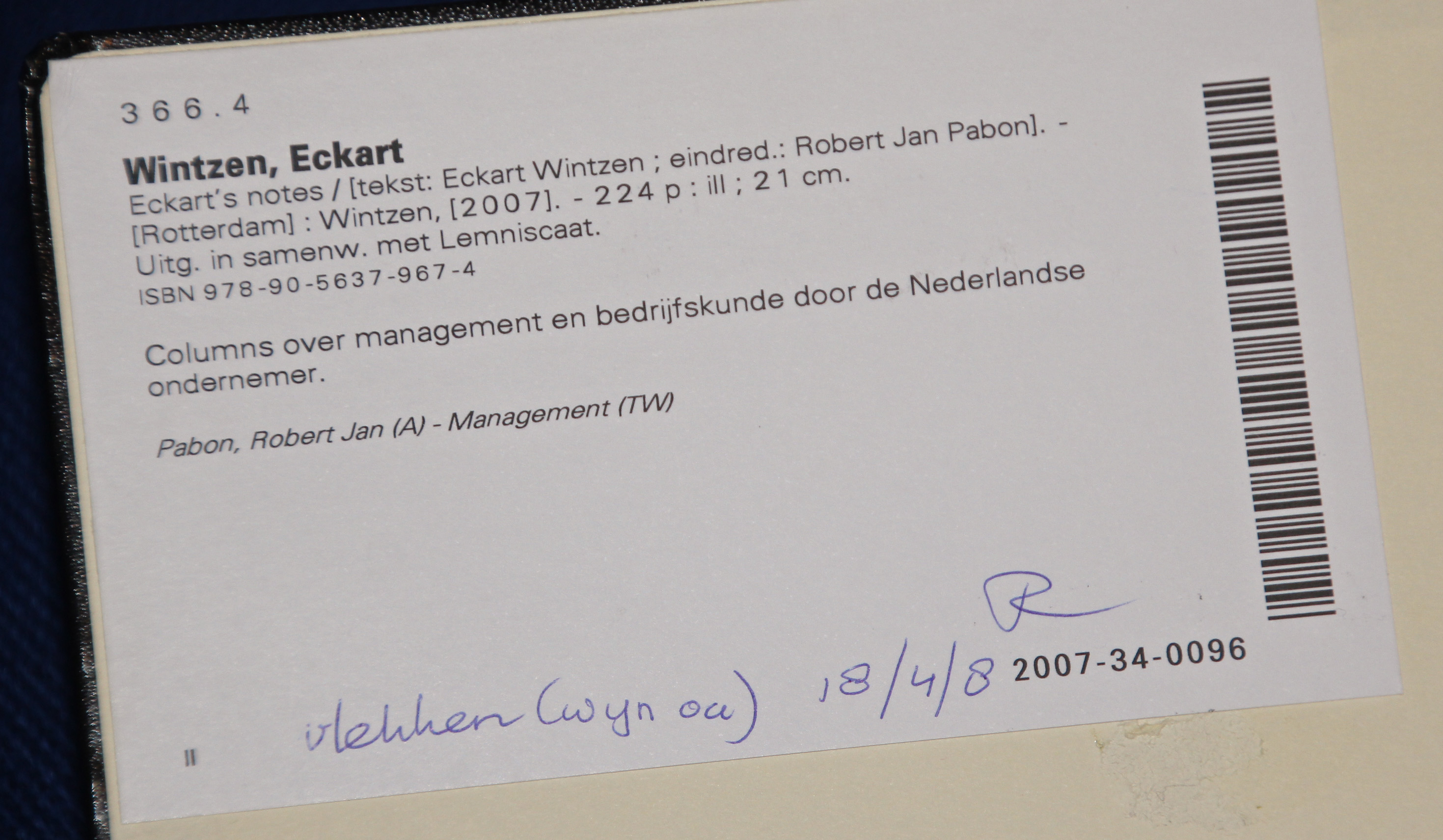 Eckart Wintzen, schutblad